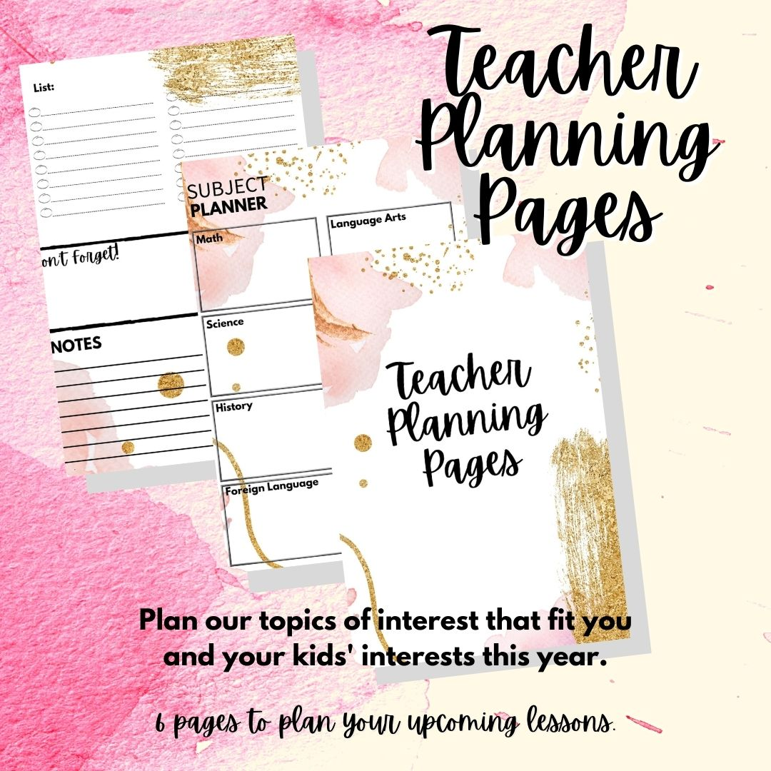 Teacher Planning Pages - product cover page with text overlay
